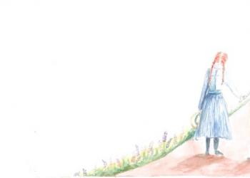 "Illustration. ""Anne of Green Gables and Don Quixote."" Provided by Julie Sellers. Illustrated by Claire Schroettner."